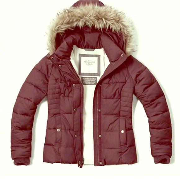 1e219d3670fcc Abercrombie & Fitch Jackets & Blazers - Women's burgundy puffer jacket ...